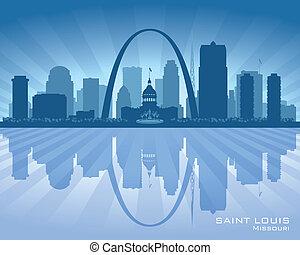 città, silhouette, luigi, orizzonte, vettore, santo, missouri