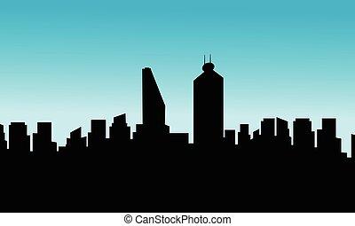 città, silhouette, messico, appartamento, orizzonte, vettore