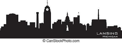 città, silhouette, michigan, lansing, orizzonte, vettore