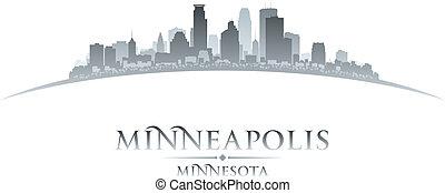 città, silhouette, minnesota, minneapolis, orizzonte, fondo, bianco