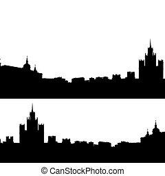 città, silhouette, mosca, illustrazione, orizzonte, vettore