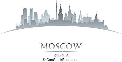 città, silhouette, mosca, orizzonte, fondo, bianco, russia