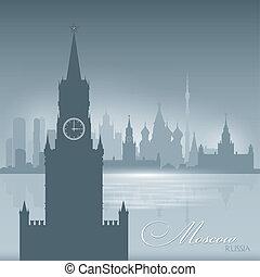 città, silhouette, mosca, orizzonte, fondo, russia