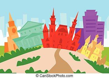 città, silhouette, mosca, orizzonte, grattacielo, astratto