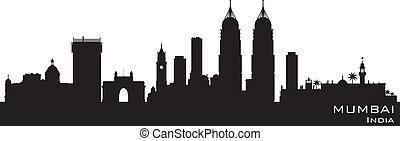 città, silhouette, mumbai, india, orizzonte, vettore