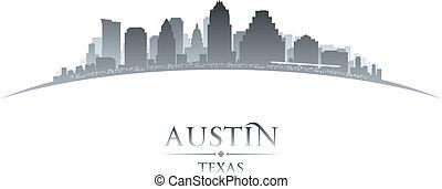 città, silhouette, orizzonte, fondo, bianco, austin, texas