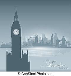 città, silhouette, orizzonte, londra, fondo, inghilterra