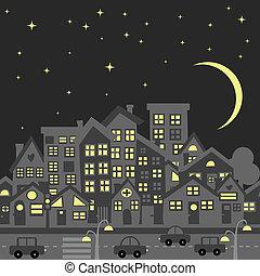 città, silhouette, orizzonte, tradizionale, tetti, notte, cartone animato