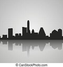 città, silhouette, riflessione., orizzonte, nero, austin