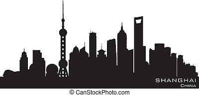 città, silhouette, sciangai, orizzonte, vettore, porcellana