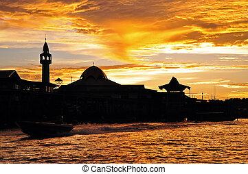 città, silhouette, tramonto