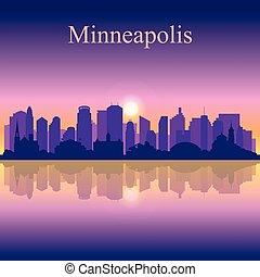 città, silhouette, tramonto, minneapolis, fondo