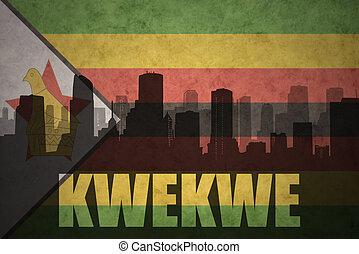 città, silhouette, vendemmia, astratto, bandiera, zimbabwean, testo, kwekwe