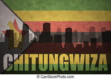 città, silhouette, vendemmia, astratto, chitungwiza, bandiera, zimbabwean, testo