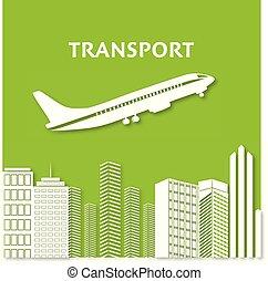 città, silhouette, volare, orizzonte, aereo, grattacielo, infographics, cityscape, vista