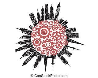 città, simbolo, lavorativo