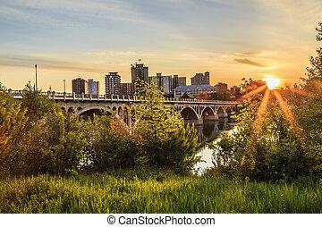 città, sopra, tramonto, saskatoon