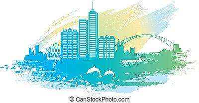 città, spiaggia