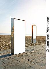 città, spiaggia., vuoto, verticale, lightbox