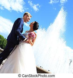 città, sposo, felice, fondo, sposa