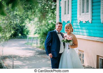 città, sposo, fondo, sposa