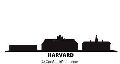 città, stati, isolato, unito, viaggiare, nero, orizzonte, harvard, illustration., cityscape, vettore