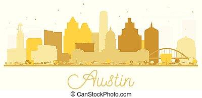città, stati uniti, dorato, silhouette., orizzonte, austin, texas