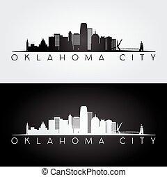 città, stati uniti, oklahoma, silhouette., orizzonte, limiti