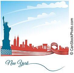 città, stati uniti, york, fondo, fla, nuovo