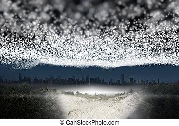 città, stelle, condurre, coperta, sopra, percorso