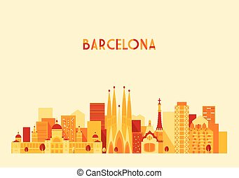 città, stile, appartamento, grande, barcellona, orizzonte, vettore, spagna