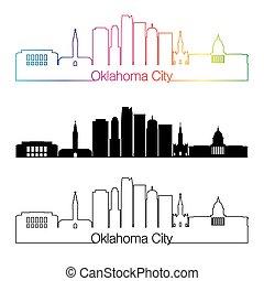città, stile, lineare, arcobaleno, oklahoma, orizzonte, v2