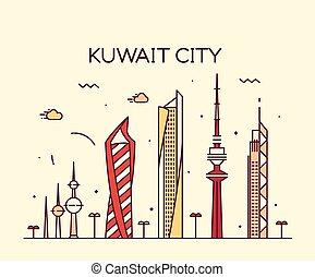 città, stile, silhouette, lineare, kuwait, orizzonte, vettore