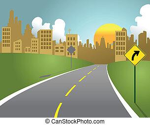 città, strada