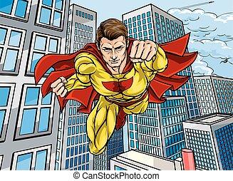 città, superhero, scena