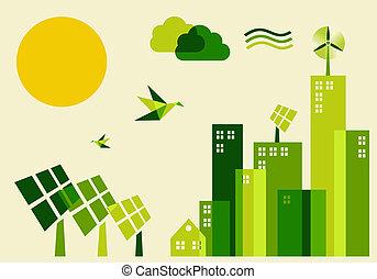 città, sviluppo sostenibile, concetto, illustrazione