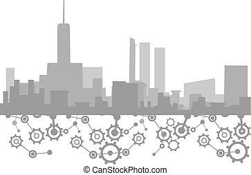 città, tecnologia, illustrazione