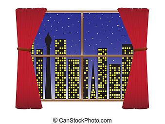 città, tenda, &, stelle, notte, w-lights