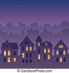 città, tetti, notte