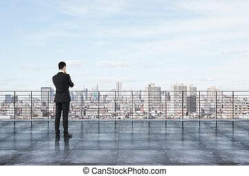 città, tetto, vista