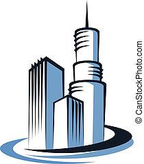 città, torre, moderno, comunicazioni