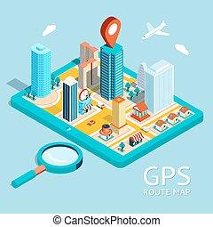 città, tracciato, map., navigazione, app, gps