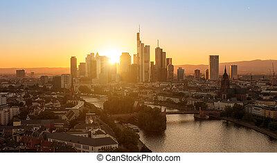 città, tramonto, francoforte, vista