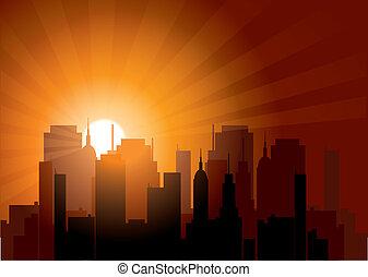 città, tramonto