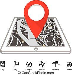 città, trasporto, mappa, aggeggio, moderno, prospettiva, icone, astratto