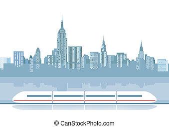 città, treno, espresso, backdro