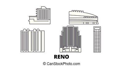 città, unito, contorno, illustrazione, stati, viaggiare, landmarks., reno, simbolo, orizzonte, vettore, viste, linea, set.