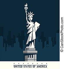 città, unito, emblema, stati uniti, libertà, stati, york, statua, nuovo