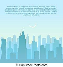 città, urbano, illustrazione, vettore, cityscape, orizzonte
