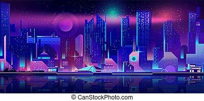 città, urbano, vettore, nightlife, fondo, cartone animato